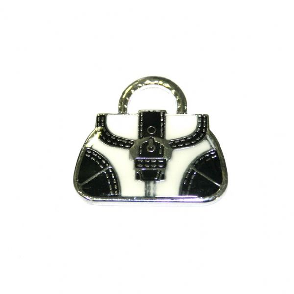 1pce x 24*22mm Rhodium plated light black handbag with buckle enamel charm - SD03 - CHE1146